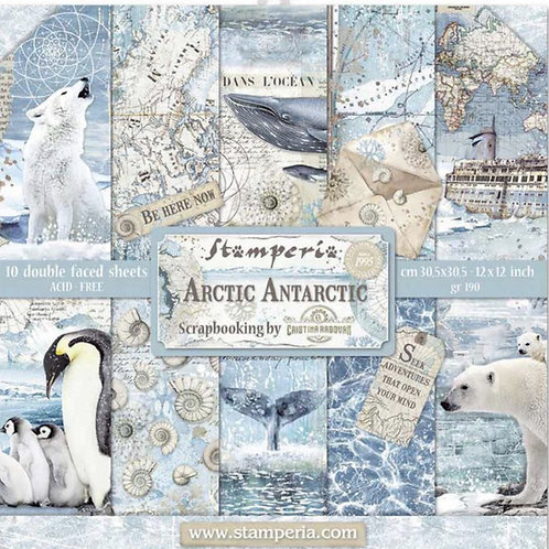 Stamperia-Arctic Antarctic 12x12 Paper Pad-10 Sheets - 22 Designs