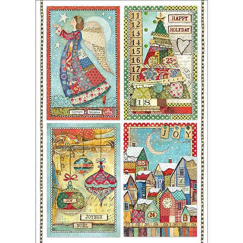 Patchwork Postcards Rice Paper by Stamperia-Item #DFSA4408