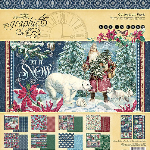 PRE ORDER Graphic 45 - Let it Snow - 12x12 Collection Pack w/Stickers