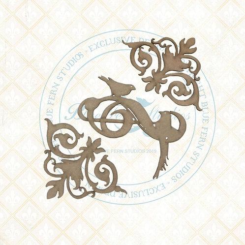 Bird Waltz - Chipboard - Flourished Swirls