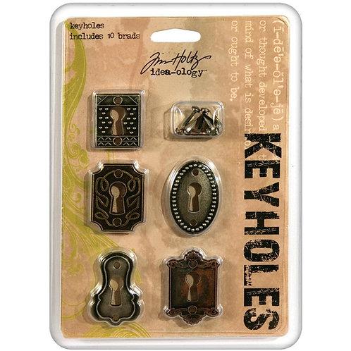 "Idea-Ology-Metal Keyholes W/Brads .75""X1"" To 1""X1.5"" 5/Pkg-Item #TH92718"