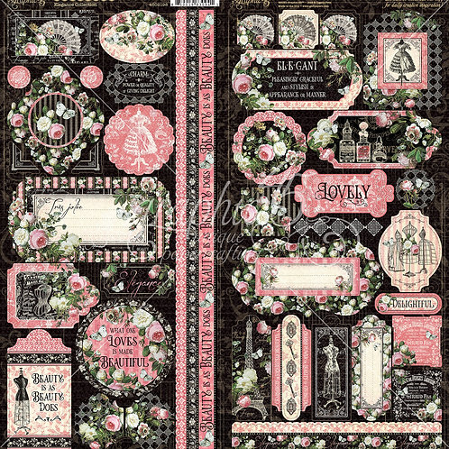 Graphic 45-Elegance- 2 - 6 x 12 Sticker Sheets