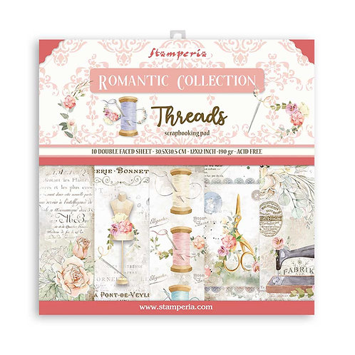 Stamperia - Threads - 12x12 Paper Pad - 10 Sheets - 22 Designs