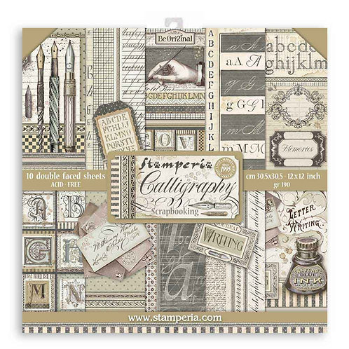 Stamperia - Calligraphy - 12x12 Paper Pad - 10 Sheets - 22 Designs