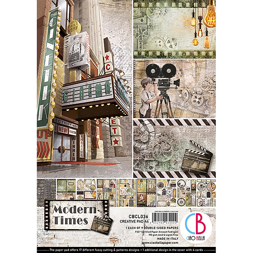 Modern Times by Ciao Bella-9 Double-Side Papers in the A4 Format-CBCL036