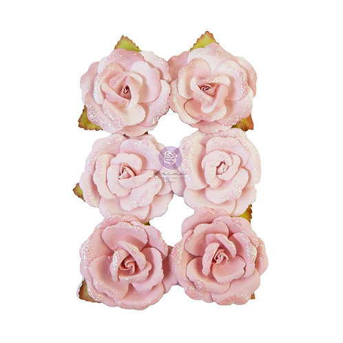 Prima - My Sweet - Stitched - Mulberry Paper Flowers - 6 Pieces