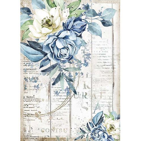 Stamperia - Sea Dream - Blue Flower - Rice Paper A4