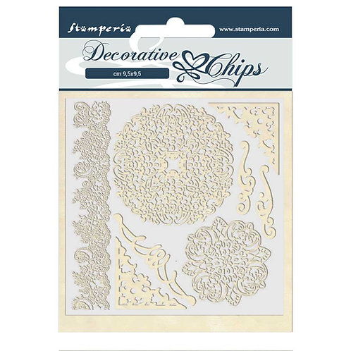 Stamperia - Decorative Chips - Passion - Laces & Corners