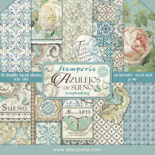Azulejos De Sueno by Stamperia-12x12 Paper Pad-Item #SBBL55