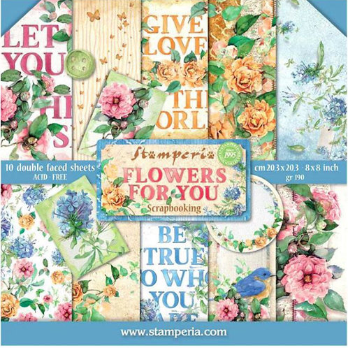 Flowers For You-8x8 Paper Pack by Stamperia - 10 Double Sided Design Papers