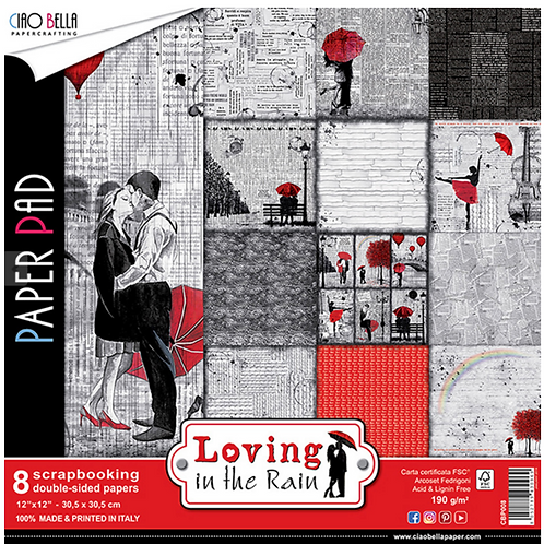 Loving in the Rain by Ciao Bella-8-12 x 12 Double-Sided Design Papers-CBP008
