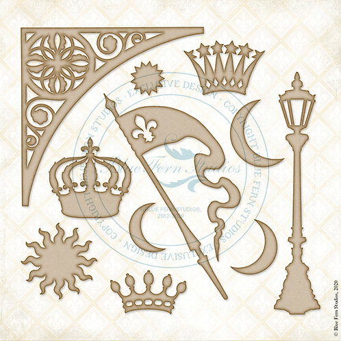 Blue Fern - Lucky Star - Chipboard - Crowning Glory - 11 Pieces