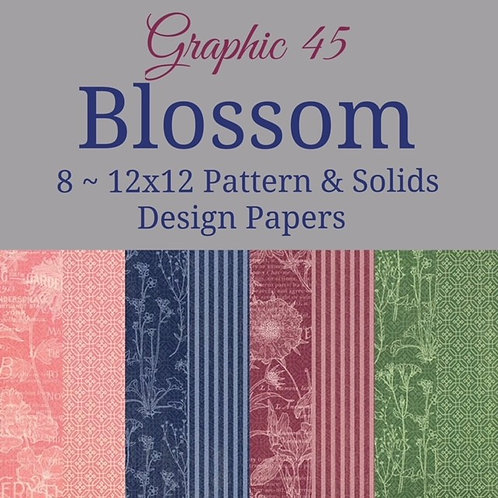 Graphic 45-Blossom-Patterns & Solids-8-12x12 Double-Sided Sheets (no cover)