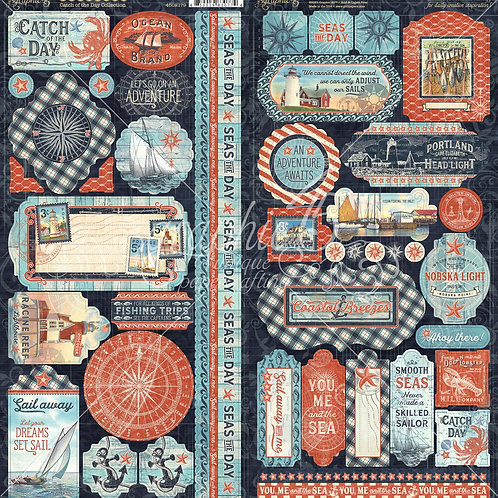 PREORDER Graphic 45-Catch of the Day- 2 - 6 x 12 Sticker Sheets