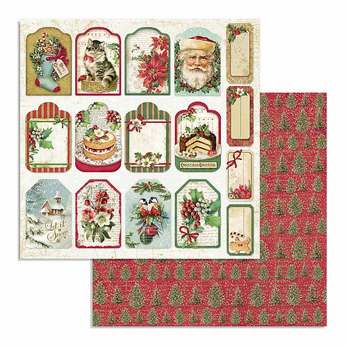 Stamperia-Classic Christmas Tags - 2 - 12x12 Single Sheets-Item #SBB706