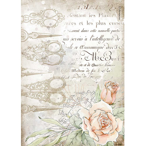 PRE ORDER - Stamperia - Threads, Scissors & Roses - Rice Paper A4