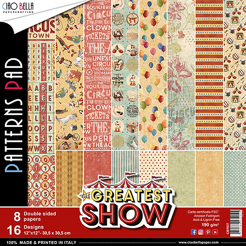 Greatest Show by Ciao Bella-8-12x12 Double-Sided Papers-CBT027