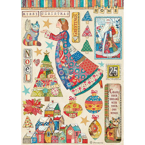 PRE ORDER Stamperia - Christmas Patchwork - Elements - Rice Paper A4