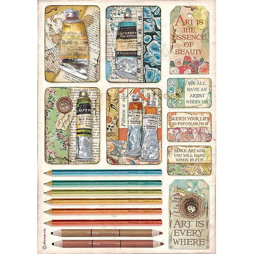 Stamperia-Atelier Des Arts - Tubes of Paints & Pencils - Rice Paper A4
