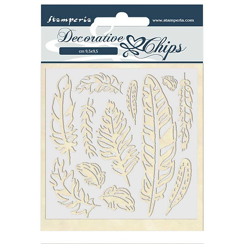 PRE ORDER - Stamperia - Decorative Chips - Amazonia - Feathers