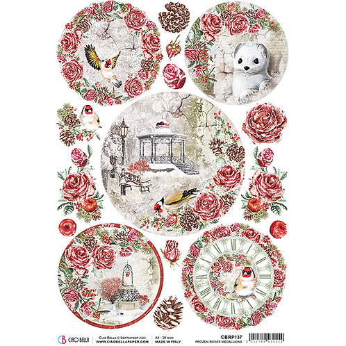 Frozen Roses-Medallions - A4 Rice Paper by Ciao Bella-Item #CBRP137