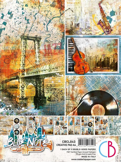 Blue Note by Ciao Bella-9 Double-Side Papers in the A4 Format