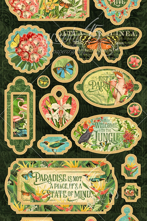 Graphic 45-Lost in Paradise-Decorative Chipboard