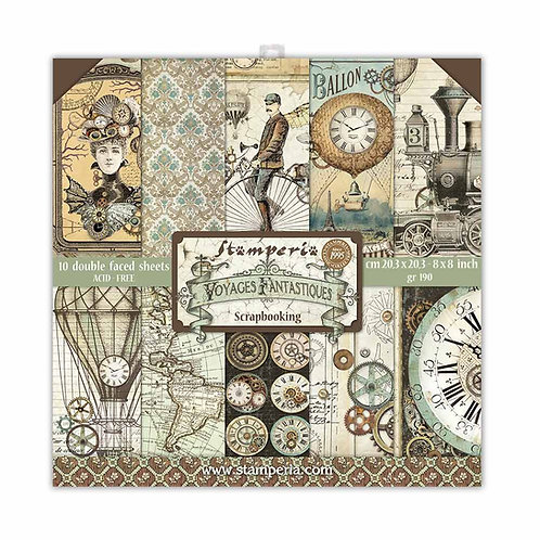 Stamperia - Voyages Fantastiques-8x8 Paper Pad-10 Sheets - 22 Designs