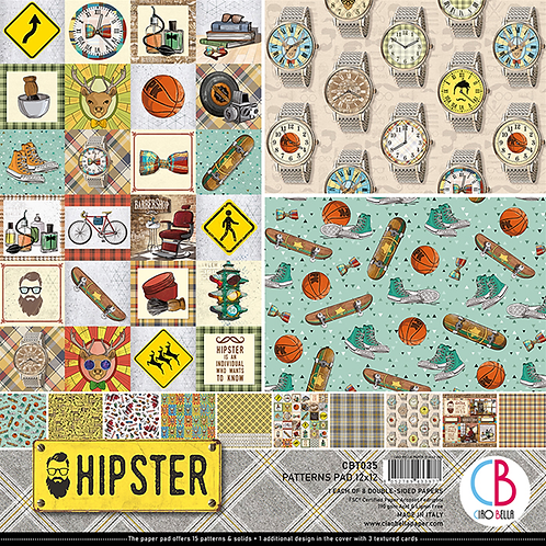 Hipster by Ciao Bella-8-12x12 Double-Sided Papers-CBT035