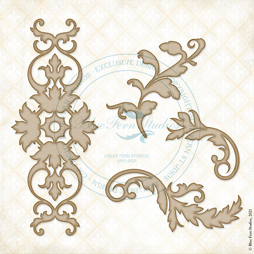Blue Fern - Compositions - Chipboard - Leafy Filigree - 4 Pieces
