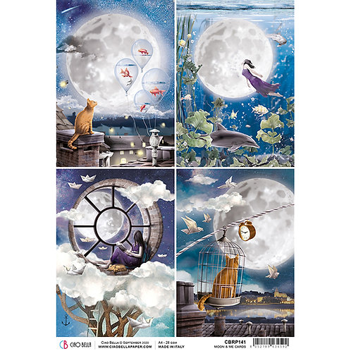 Moon & Me Cards- A4 Rice Paper by Ciao Bella-Item #CBRP141