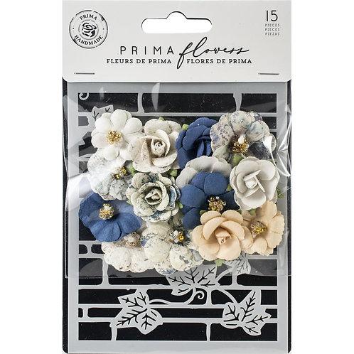 Prima-Georgia Blue - Wilcox - Mulberry Paper Flowers & Stencil - 15 Pieces