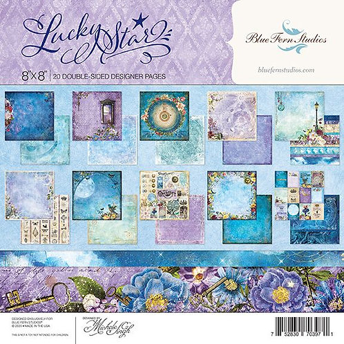 Blue Fern-Lucky Star-20 - 8x8 Double-Sided Papers-2 of Each Design + Bonus Sheet