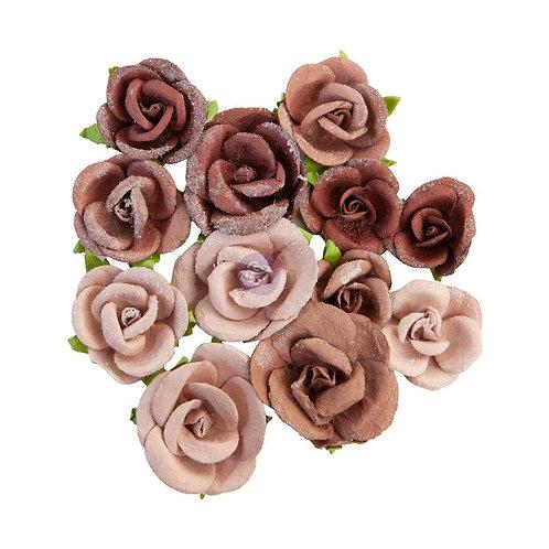 Prima - Golden Desert - Sahara - Mulberry Paper Flowers - 12 Pieces
