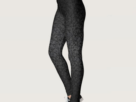 Black Damask Pattern Leggings
