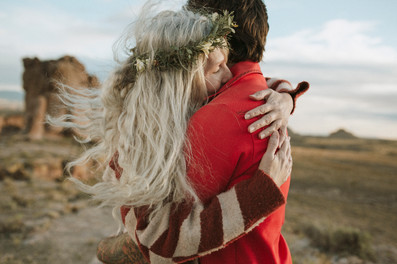 Wind blown hair and floral crowns are perfect for bohemian brides.