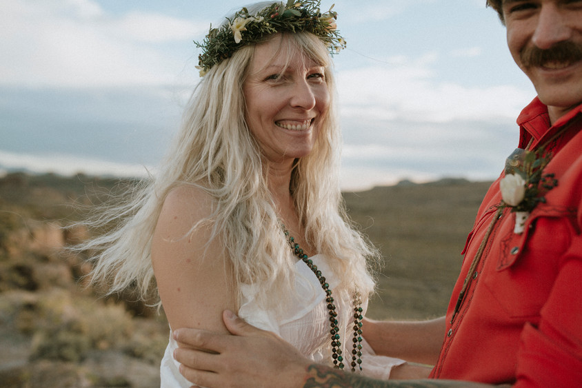 A BoHo bride and groom Have an intimate and small wedding along route 66.