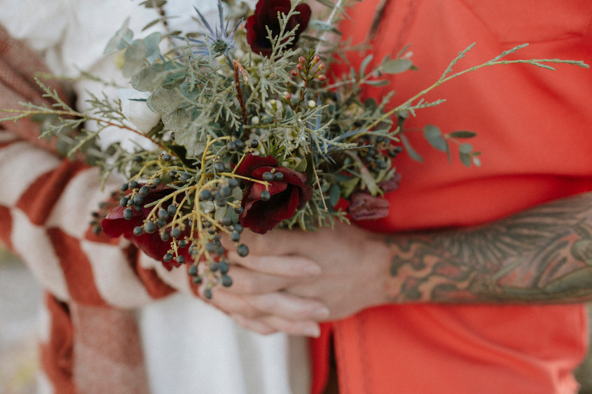 Bohemian floral bouquet full of color and texture.