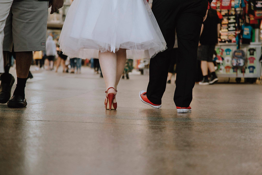 red heels with wedding dress during an urban city elopement.