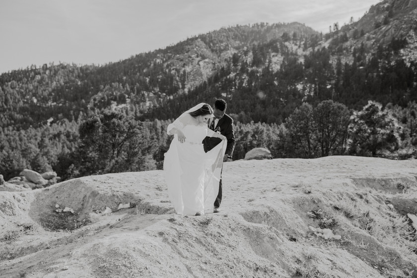 Bride and groom at mountaintop, Just minutes before they say their vows.