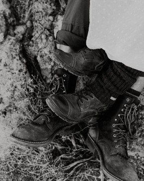 Vintage hiking boots Are both functional and aesthetically pleasing for elopements and small weddings outside.