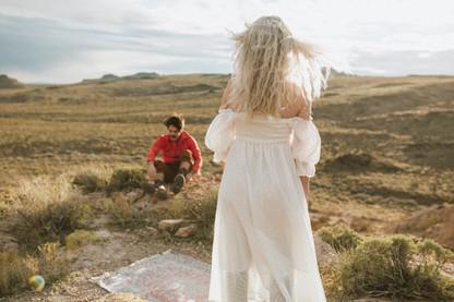 Blonde windblown hair Creates the essence of a bohemian bride.