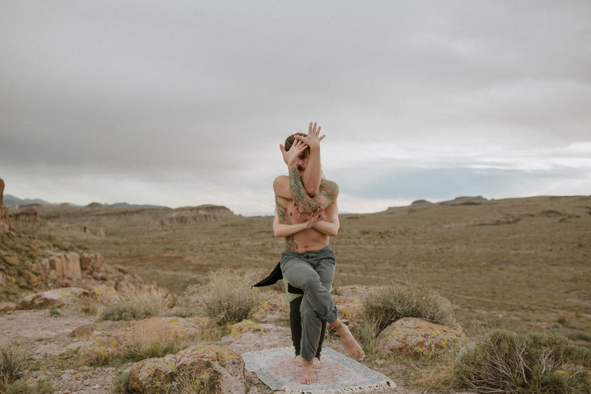 Desert Yoga with beautiful views And an amazing connection between two lovers.