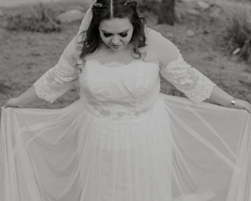 A beautiful  boho bride, Dressed in a vintage bohemian dress.
