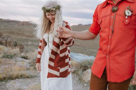Retro fashion For a bohemian couple who elope.