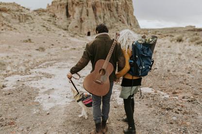 Bohemian couple elopes to Monolith Garden, A desert canyon along the famous Route 66 in Arizona.