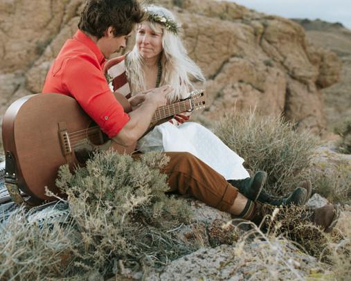 Gram brings his guitar To Serenade his beautiful bride during an elopement.