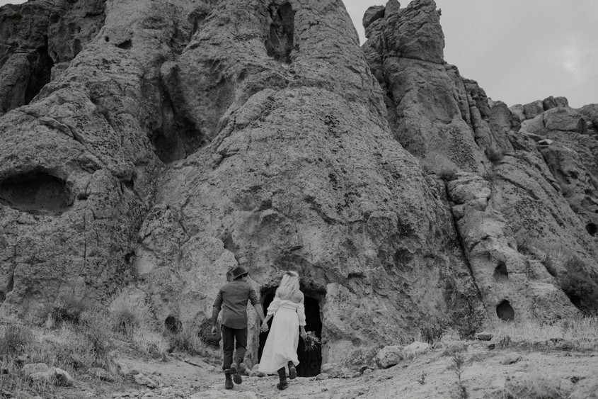 Tall desert mountains Provide a great location for a small wedding.