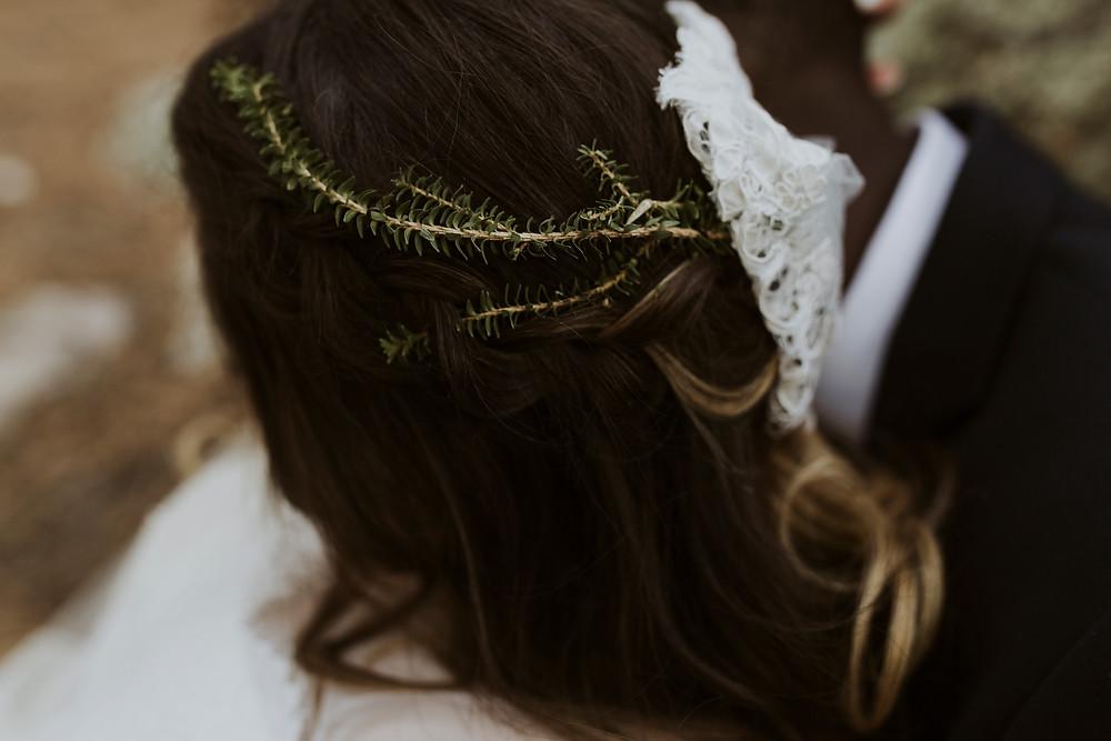 Botanical hair crown for bride.