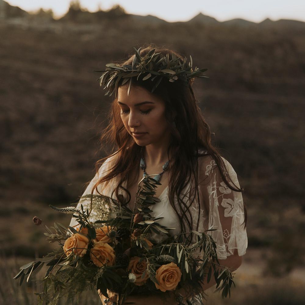 Bohemian floral crown for a desert elopement.